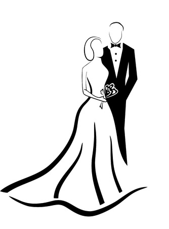 pretty dress: wedding couple vector eps 10 Illustration
