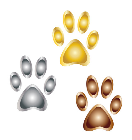 gold silver: Golden, silver and bronze paw