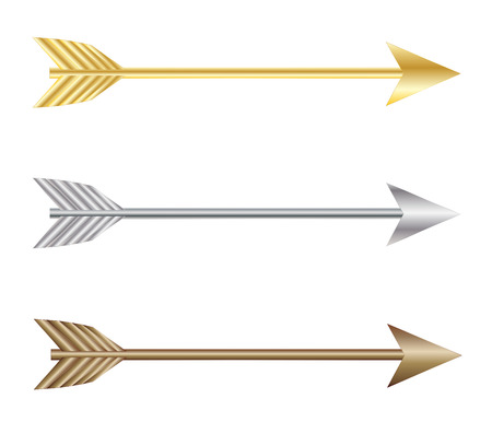 gold silver: Bow arrows, gold silver and bronze vector eps 10