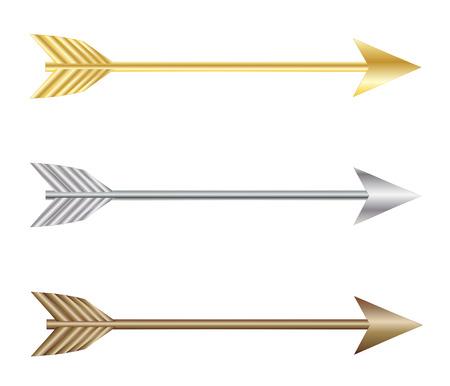 flechas direccion: Bow flechas de plata, oro y bronce vector eps 10 Vectores