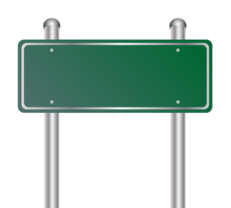 green road: Blank green traffic road sign on white