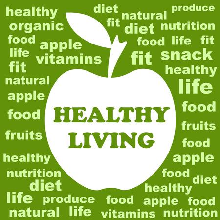 bite apple: Healthy Living Illustration