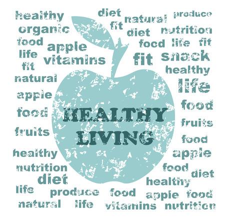 apple core: Healthy Living Illustration