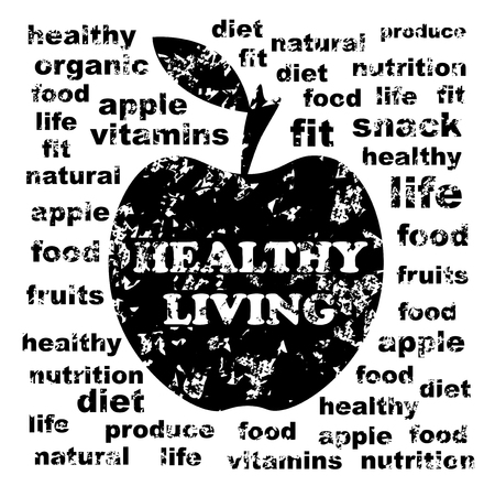 apple core: Healthy Living Illustration