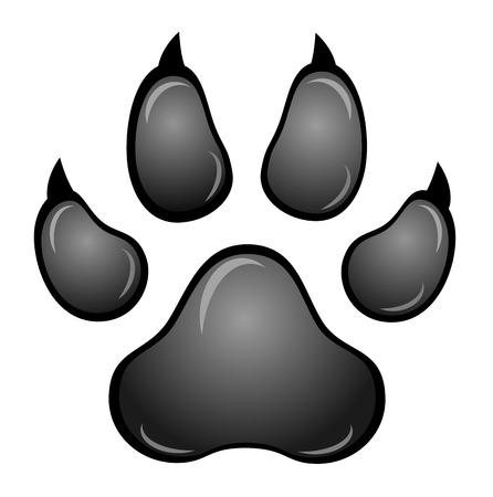 animal silhouettes: Black animal paw print