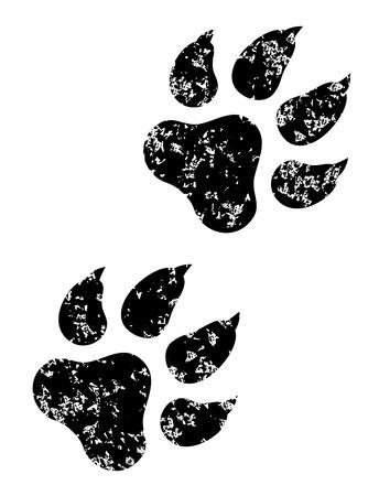 cat walk: Black animal paw print