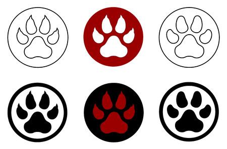 dog outline: animal paw print Illustration