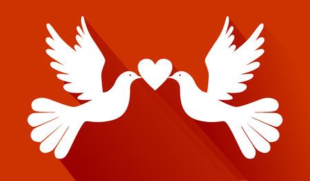 enamorados besandose: palomas del amor