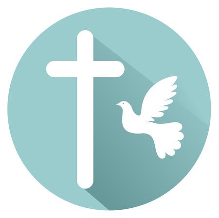 testaments: Holy Spirit conception flat design icon vector EPS 10