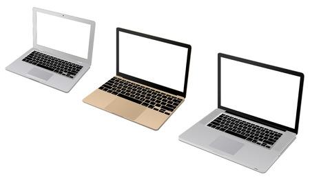 retina display: Top view of a modern set of laptop