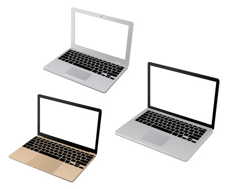 netbooks: Top view of a modern set of laptop