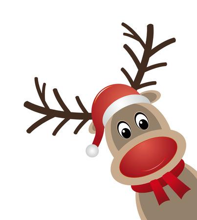 animal nose: red nose reindeer scarf santa claus hat Illustration