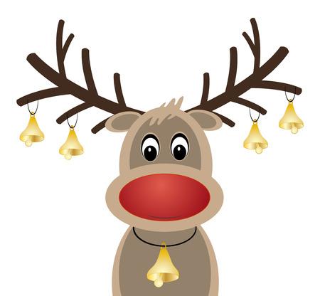 nariz roja: Rudolph el reno de nariz roja y las campanas de Navidad Vectores