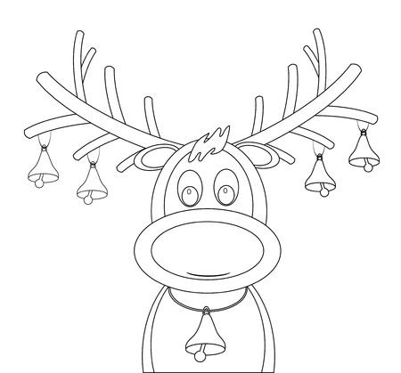 animal nose: Rudolph reindeer with Christmas bells  Illustration