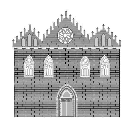 stained glass church: Gothic style architecture Illustration