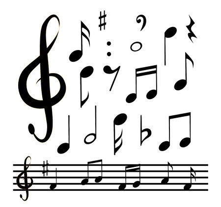 ditch: Vector icons set music note
