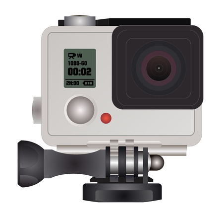 action sports: Action camera in waterproof box. Equipment for filming extreme sports