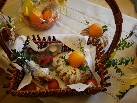 paskha: Easter basket with food