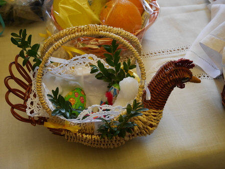 clergyman: Easter basket with food