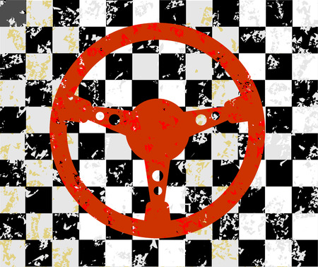 racer flag: Racing steering wheel grunge background Illustration