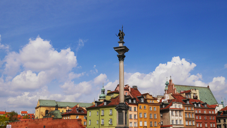 column: Old Town in Warsaw, Poland. The Royal Castle and Sigismunds Column called Sigismunds Column Editorial