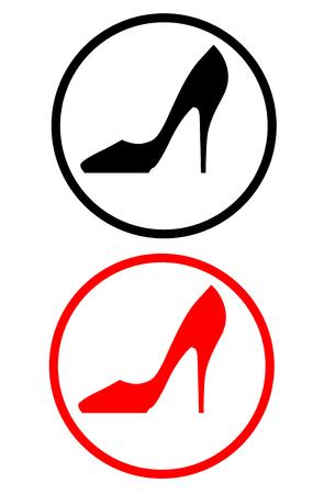 ladies shoes: Black and red Elegant women high heel Illustration