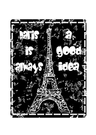 white poster: Concept with Eiffel Tower on grunge background Illustration