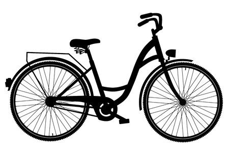 Silhouette Biciclette isolato su sfondo bianco Archivio Fotografico - 59703856