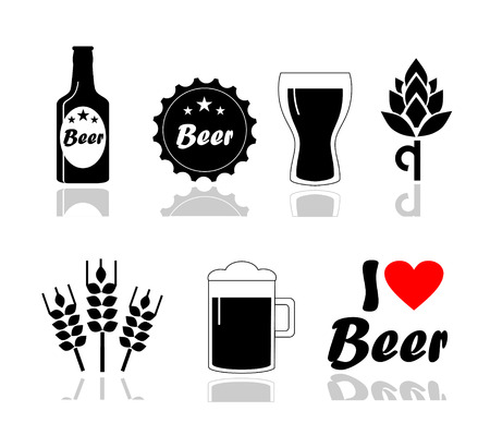 pint: Beer icons set - bottle, glass, pint