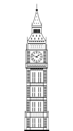 clock tower: Big Ben on the white background, vector eps 10