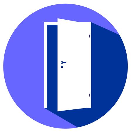white door: White blank opened door icon vector eps 10 Illustration