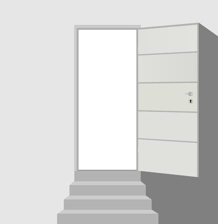 frontdoor: Open door and straight staircase with three steps on white abstract vector background eps 10 Illustration