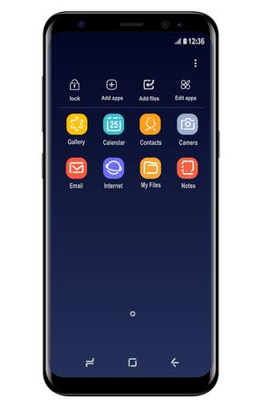 Téléphone mobile moderne similaire au Samsung Galaxy S8 Éditoriale