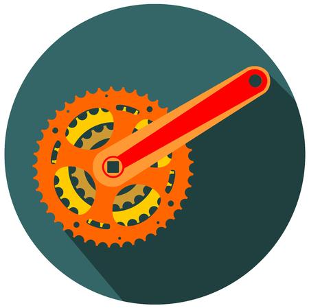 Bicycle gear, metal cogwheel flat icon design vector eps 10 Illustration