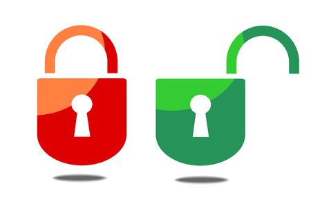 Opened and closed padlock on white background vector 10