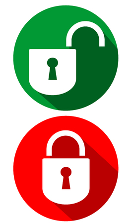 Open and closed padlock flat design vector eps 10 Illustration