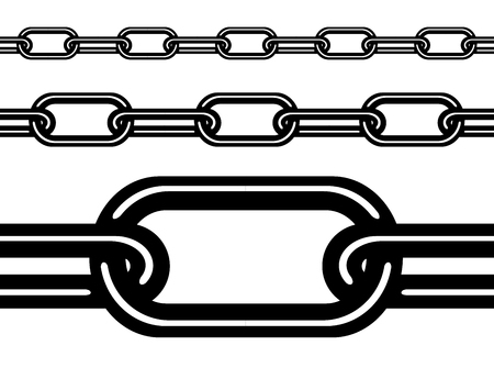 Seamless metal chain isolated on white background. Vector eps 10