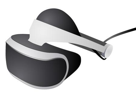 Stereoscopic 3d vr illustration. Vector virtual digital cyberspace technology. Innovation device eps 10