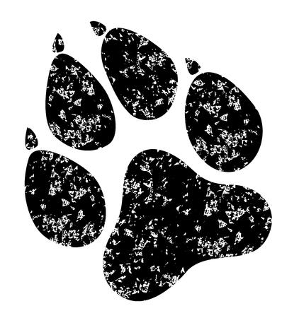 Paw Prints grunge. Vector Illustration. Isolated vector Illustration. Black on White background. Illustration