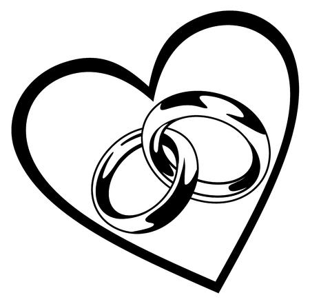 Trouwring in hart vectorillustratie geïsoleerd op witte achtergrond 10