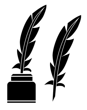 Feather black white vector eps 10