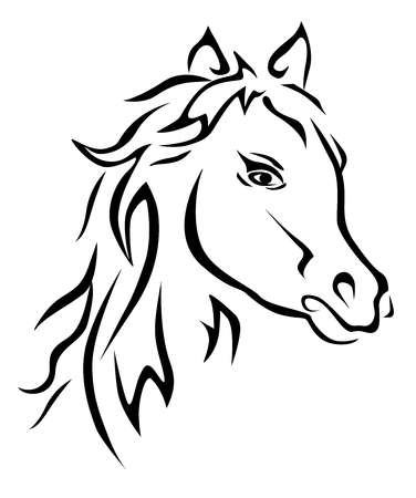 Black horse silhouette vector eps 10 Illustration