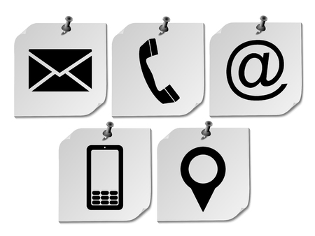 Website and Internet contact us page concept with icon on five paper post it .vector eps 10 Illustration
