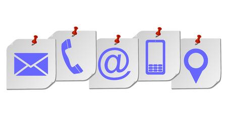 Site et Internet contactez-nous concept de page avec icône sur cinq documents postez-le .vector eps 10