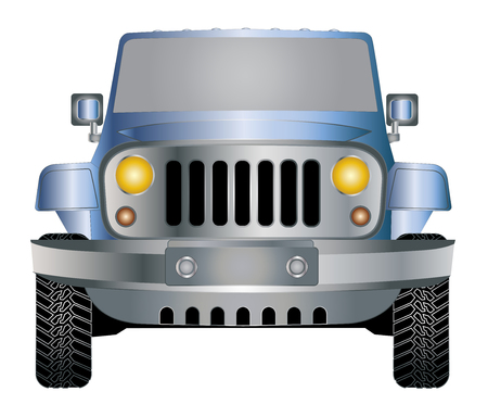 Jeep blue in front vector eps 10 Illustration