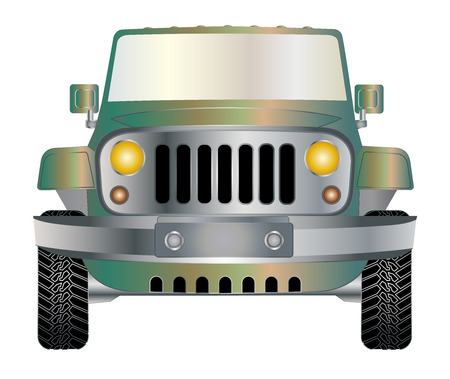 Jeep green in front vector eps 10