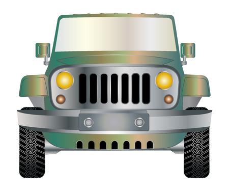 Jeep vert en avant vecteur eps 10