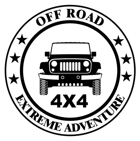 Off-road car stamp, safari suv, expedition offroader vector eps 10