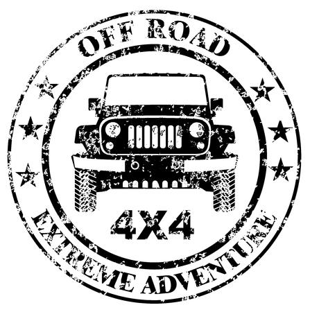 Off-road car stamp grunge Illusztráció