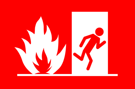 Fire emergency exit vector eps 10 Illustration